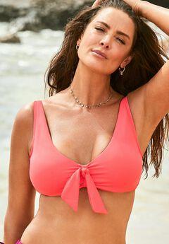 Underwire Tie Front Bikini Top,