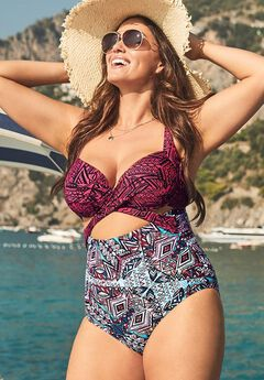 Cut Out Underwire One Piece Swimsuit,