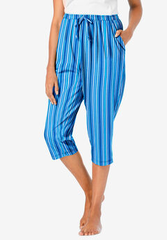 Knit Sleep Capri , POOL BLUE STRIPE