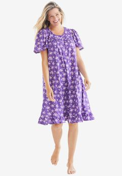 Short Floral Print Cotton Gown ,