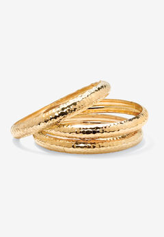 "Goldtone Hammered 3-Piece Bracelet Set (11mm), 8.5"","