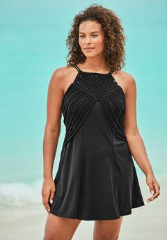 High-Neck Macrame Swim Dress ,