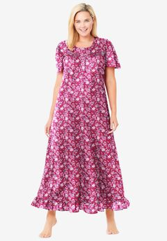 Long Floral Print Cotton Gown , STRAWBERRY ROSES