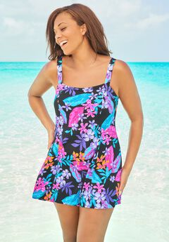 Princess-Seam Swim Dress ,