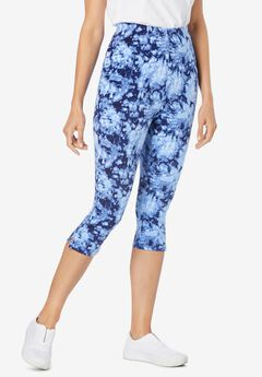 Stretch Cotton Printed Capri Legging, BLUE TIE-DYE
