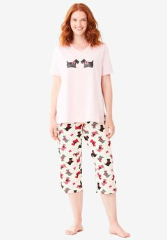 2-Piece Capri PJ Set , IVORY SCOTTIES