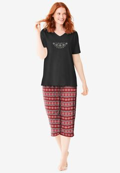 2-Piece Capri PJ Set , CLASSIC RED FAIR ISLE