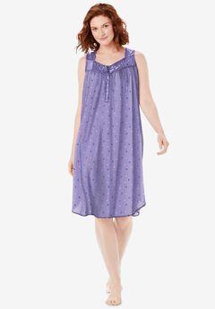 Pintuck Cooling Sleeveless Sleepshirt, SOFT IRIS FLORAL DOT