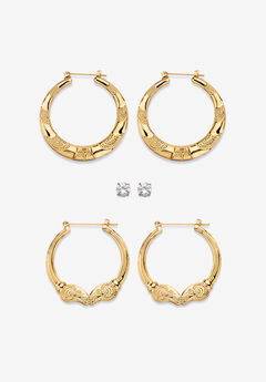 Cubic Zirconia Stud and Hoop Earring Set in Goldtone,