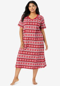 Long Print Sleepshirt , CLASSIC RED FAIR ISLE