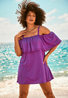 Laser-Cut Off-The-Shoulder Swim Dress,
