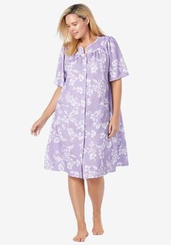Short Sleeve Waffle Knit Robe,
