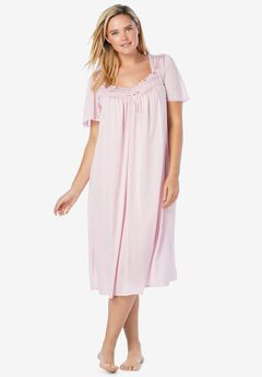 Short Silky Lace-Trim Gown ,