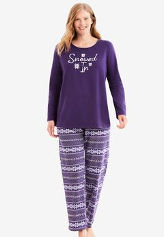 Long Sleeve Knit PJ Set , RICH VIOLET FAIR ISLE