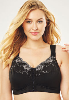 Front-Close Embroidered Wireless Posture Bra ,