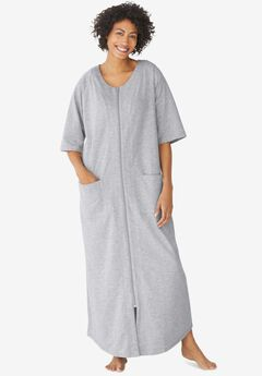 Long French Terry Zip-Front Robe , HEATHER GREY