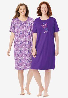 2-Pack Short-Sleeve Sleepshirt , PLUM BURST FLORAL BUTTERFLY