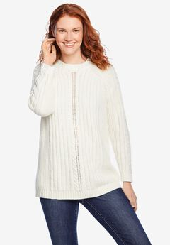 Cable Mockneck Pullover Sweater, IVORY