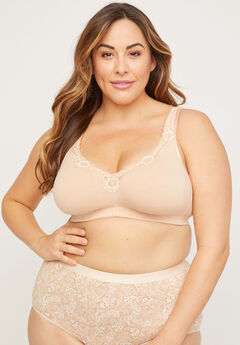 Cotton Comfort No-Wire Bra With Lace, FRAPPE