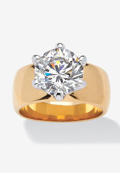 Yellow Gold-Plated Cubic Zirconia Solitaire Engagement Ring,