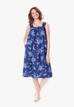 Print Sleeveless Square Neck Lounger , ULTRA BLUE BOUQUET