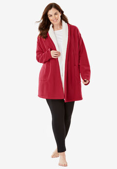 Sherpa Lined Collar Microfleece Bed Jacket ,