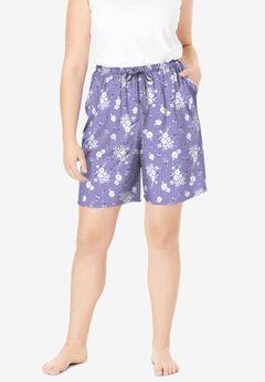 Print Pajama Shorts ,