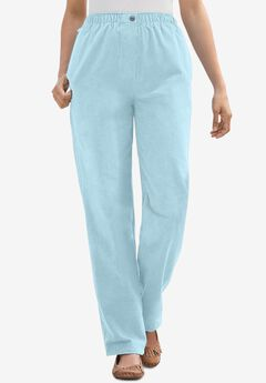 Comfort Waist Straight Leg Corduroy Pant, ICE BLUE