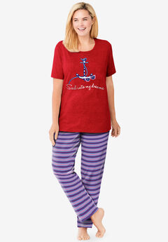 Graphic Tee PJ Set , VIVID RED ANCHOR