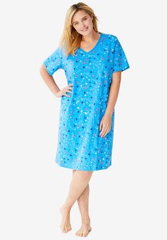 Print Sleepshirt, POOL BLUE STARS