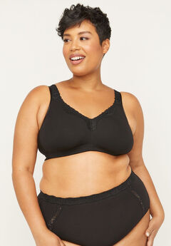 Cotton Comfort No-Wire Bra With Lace, BLACK
