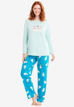 Long Sleeve Knit PJ Set , DARK TURQ SNOWMAN