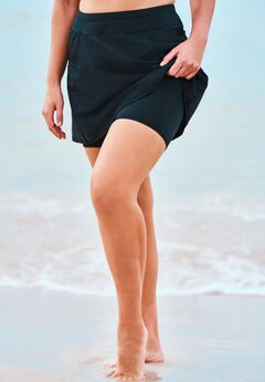 Zip-Pocket Swim Skort ,