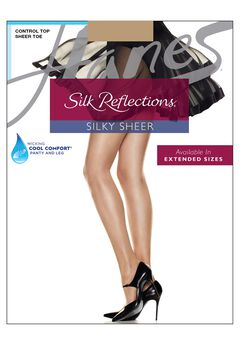 Silk Reflections Silky Sheer Control Top Sheer Toe 6-Pack,