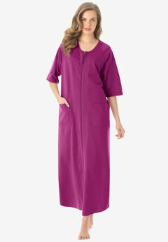 Long French Terry Zip-Front Robe ,