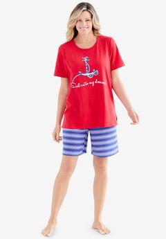 Knit PJ Short Set, VIVID RED ANCHOR