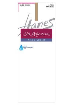 Hanes Silk Reflections Knee Highs Sheer Toe 6-Pack,