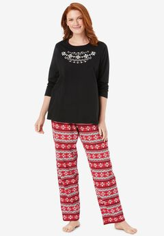 Long Sleeve Knit PJ Set , CLASSIC RED FAIR ISLE