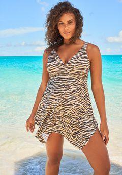 Handkerchief-Hem Two-Piece Swim Dress,