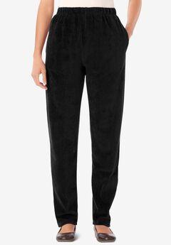 Ribbed Velour Straight Leg Pant, BLACK