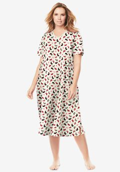 Long Print Sleepshirt , IVORY SCOTTIES