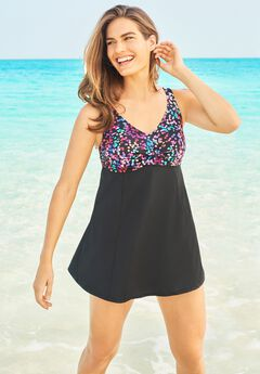 Print Bodice Swimdress ,