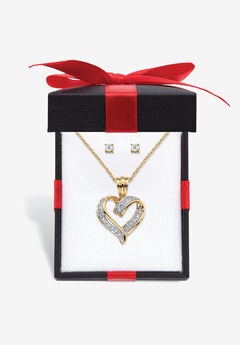 """Yellow Gold-Plated Heart Pendant with Genuine Diamond Accent on 18"""" Chain,"""