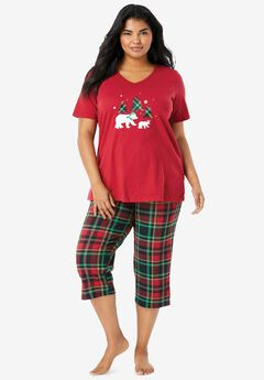 2-Piece Capri PJ Set , CLASSIC RED PLAID