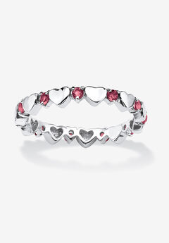 Simulated Birthstone Heart Eternity Ring,