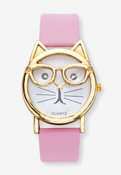 "Gold Tone Crystal Bowtie Cat Watch with Adjustable Pink Strap, 8"","