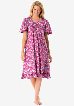 Short Floral Print Cotton Gown , STRAWBERRY ROSES