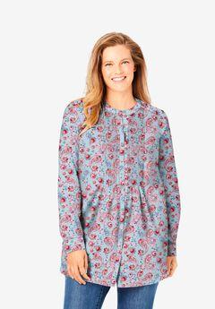 Perfect Pintucked Shirt, PASTEL BLUE PAINTERLY PAISLEY