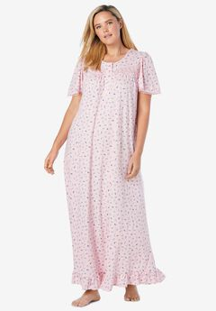 Long Floral Print Cotton Gown ,
