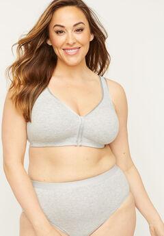 Front-Close No-Wire Cotton Comfort Bra, HEATHER GREY